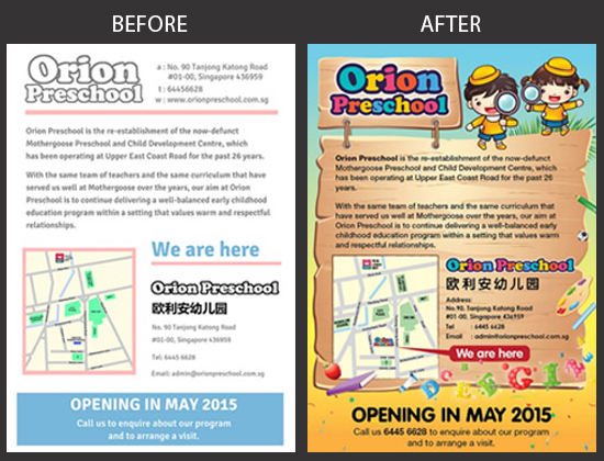Orion Preschool Flyer Design Before and After
