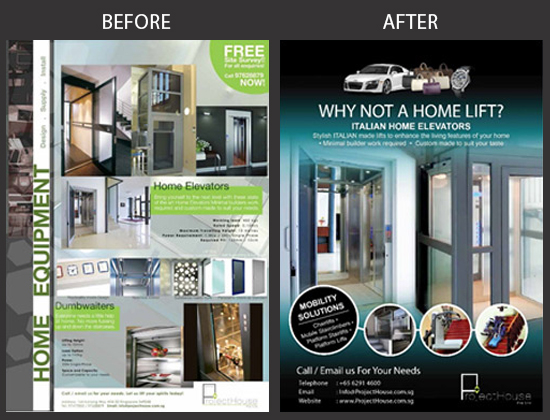 Project House Flyer Design Before and After