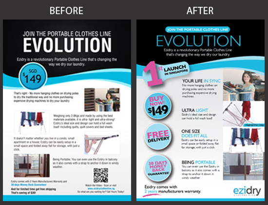 ezydry Flyer Design Before and After