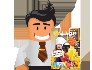 Holding Orange Flyer Distribution Booklet